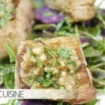 Kochen mit Freunden: Köstliches Schweinefilet in Pinienkruste mit Salat von Rucola, Bohnen und violetten Kartoffeln