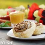 WM Fingerfood für Mädels – Süßkartoffelspalten in Serranoschinken mit einem Mango-Kokos-Chili-Dip und knusprige Pilzschnecken