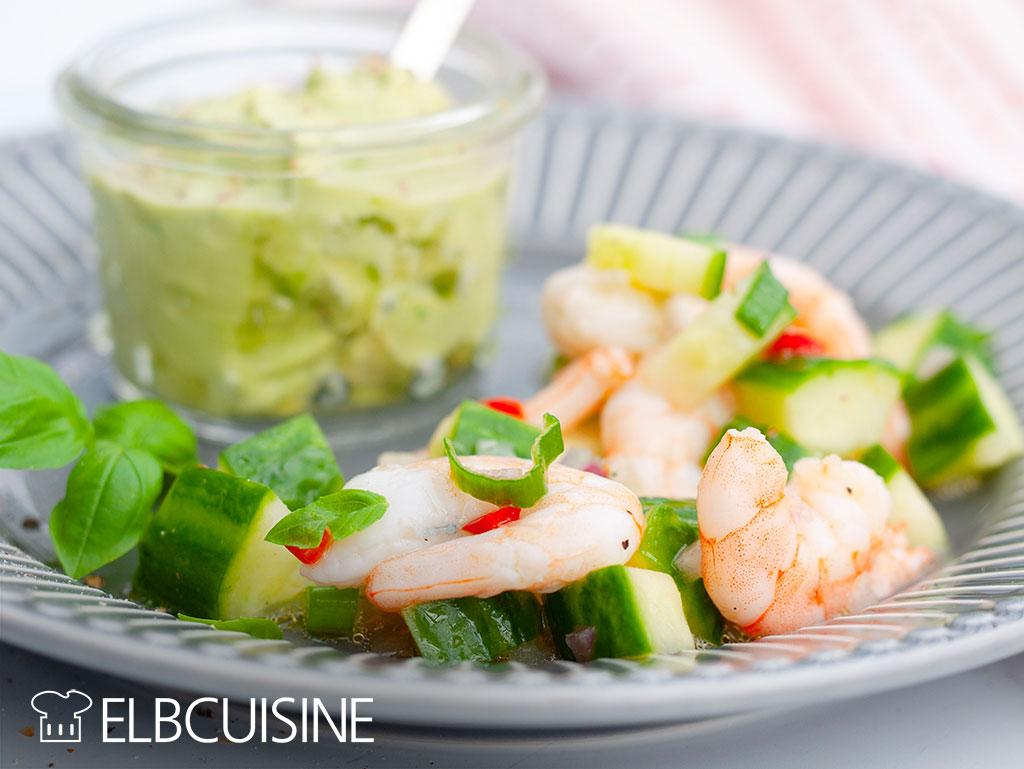 Ceviche Garnelen Teller Salat